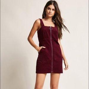 Burgundy Corduroy Front Zip Up Overall Dress